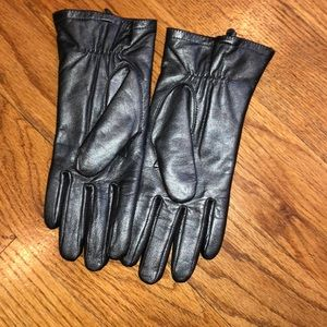 Dark Metallic silver grey genuine leather gloves